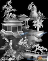 琴棋书画002-书画-004-琴棋书画灰度图