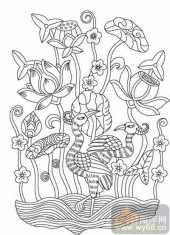 100个中国传统吉祥图-矢量图-荷叶祥鸟-B-039-中国图片