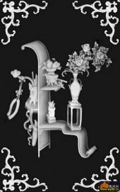 八宝017-花架-370牡丹花架-浮雕灰度图