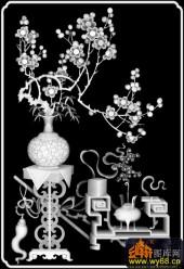 八宝009-梅花-新作雕刻梅花中号-雕刻灰度图