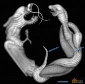 草龙-龙蛇-015-龙凤灰度图