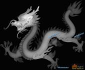 草龙-龙-054-龙凤灰度图案