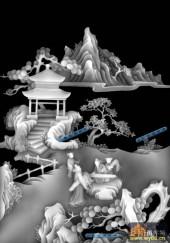 琴棋书画002-弹琴-003-琴棋书画精雕灰度图