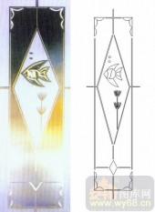喷砂玻璃-浮雕贴片-热带鱼-00073