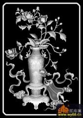 八宝009-牡丹-牡丹-雕刻灰度图
