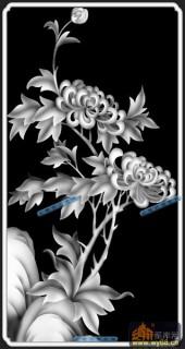 04-菊花-057-花鸟浮雕图库