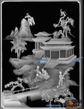琴棋书画耕-书法-书-琴棋书画灰度图