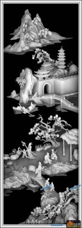 百子图002-出游-4-百子图浮雕图库