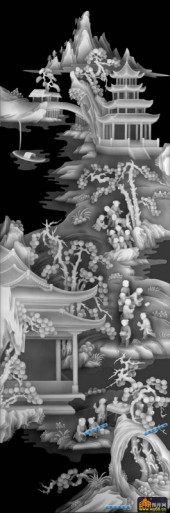 百子图002-扇面童子-扇3_2-百子图浮雕灰度图