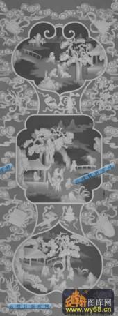 百子图001-童趣-百子大4-百子图精雕灰度图