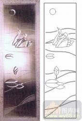 雕刻玻璃图案-浮雕贴片-天鹅-00019