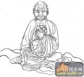 18罗汉3-白描图-罗汉13-罗汉雕刻图案