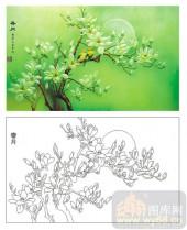 2011设计艺术玻璃刻绘-玉兰花(春月)-装饰玻璃