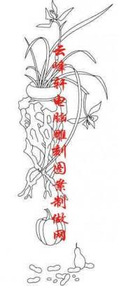 梅兰竹菊-白描图-兰草 南瓜-mlxj006-梅兰竹菊线描图
