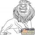 门狮子-矢量图-吉祥门狮4-国画门狮图案