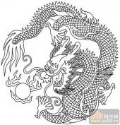 龙-白描图-龙戏珠-long14-龙图案