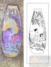 艺术玻璃-肌理雕刻系列1-双马图-00058