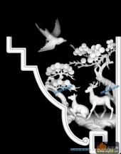 中堂-神鹿-004-中堂浮雕灰度图