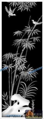 01-竹叶-006-花鸟浮雕灰度图