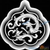 草龙-龙纹-089-雕刻灰度图