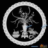 圆盘雕图灰度图-023-花瓶-007-圆盘雕图灰度图