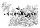 白描仙鹤-矢量图-芭蕉叶仙鹤-10-仙鹤国画矢量
