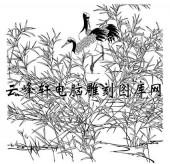 白描仙鹤-矢量图-竹叶仙鹤-3-仙鹤雕刻图片
