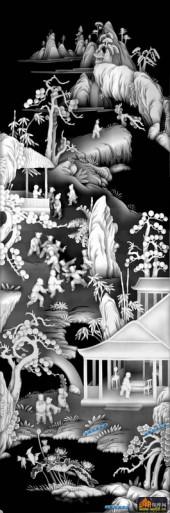 百子图002-桃花源-4627拷贝-浮雕灰度图