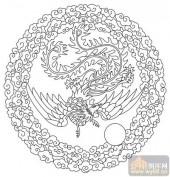 凤-白描图-凤凰来仪-huangf027-白描凤图案