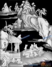 琴棋书画001-抚琴-琴_2-琴棋书画浮雕灰度图