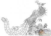 凤-白描图-凤凰来仪-huangf031-凤图案