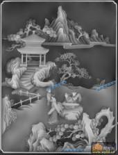 综合-抚琴-420-琴棋书画灰度图