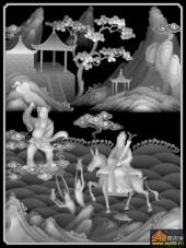 八仙多宝格-多宝格八仙-多宝格1-雕刻灰度图