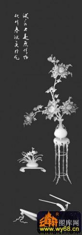八宝015-荷花-护花荷-雕刻灰度图