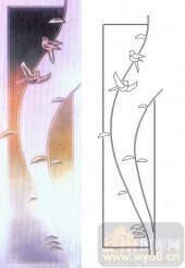 喷砂玻璃-浮雕贴片-小鸟-00092