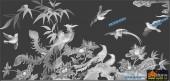 凤凰图-百鸟朝凤-003-龙凤浮雕灰度图