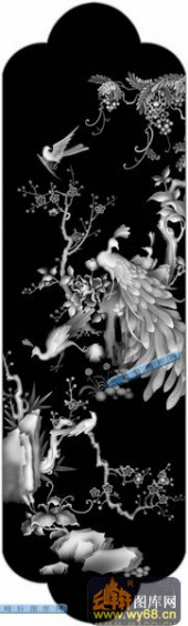 01-孔雀-068-花鸟浮雕图库