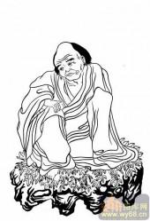 20罗汉图-白描图-3第叁尊有贤无垢尊者-罗汉白描线描图