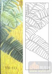 雕刻玻璃图案-肌理雕刻系列1-绿叶情-00113