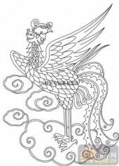 100个中国传统吉祥图-矢量图-吉光凤羽-B-034-传统图案