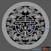 圆盘雕图灰度图-023-寿字纹-020-圆盘雕图精雕灰度图