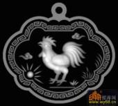 鸡 回纹边框-灰度雕刻图