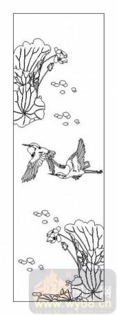 04花草禽鸟-荷塘-00063-雕刻玻璃