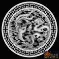 龙 凤凰 云 T纹边 圆-灰度雕刻图