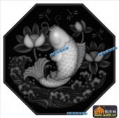 鱼图-荷花鲤鱼-002-浮雕灰度图