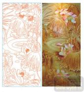 2011设计艺术玻璃刻绘-荷之韵-玻璃雕刻