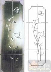 喷砂玻璃-浮雕贴片-蝶恋花-00051
