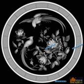 圆盘雕图灰度图-023-花鸟-017-圆盘雕图浮雕灰度图