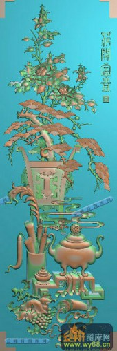 04-香炉-053-花鸟雕刻灰度图