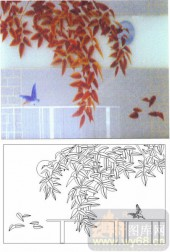 05肌理雕刻系列样图-花鸟图-00082-艺术玻璃图库